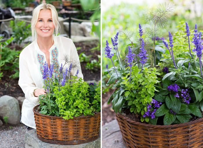 Victoria Skoglund väljer svenskodlade växter. Foto: Lena Granefelt/Blomsterfrämjandet