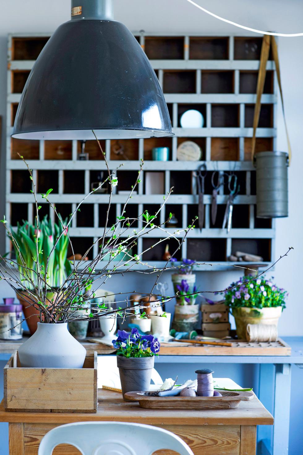 Planteringsbänk inomhus.